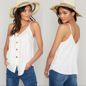 Tops - Linen button down tank in ivory